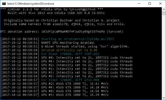 ccMiner 2.2.2 от tpruvot для GPU Nvidia с поддержкой PHI и HSR