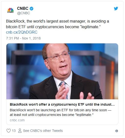 CEO Blackrock: Криптовалютам не хватает легитимности, а биткоин-ETF подождут