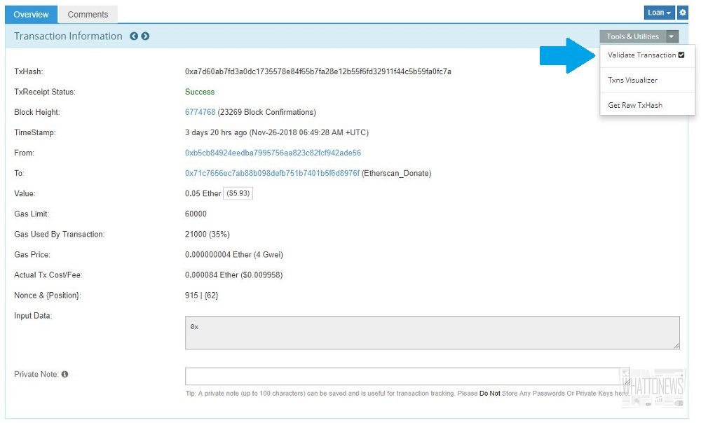 Etherscan добавляет функцию EthValidate