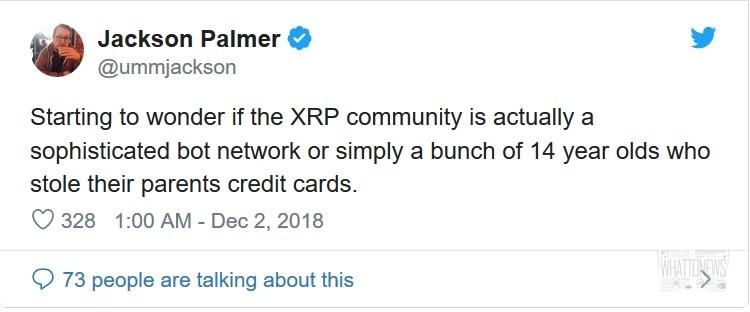 Основатель Dogecoin Джексон Палмер защитил себя от последователей XRP в Твиттере
