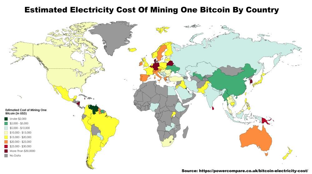 Топ-5 стран, где самое дешёвое электричество для майнинга биткоинов